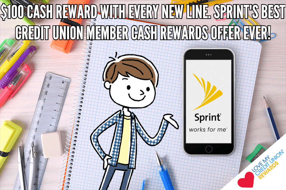 cash rewards sprint credit union perks