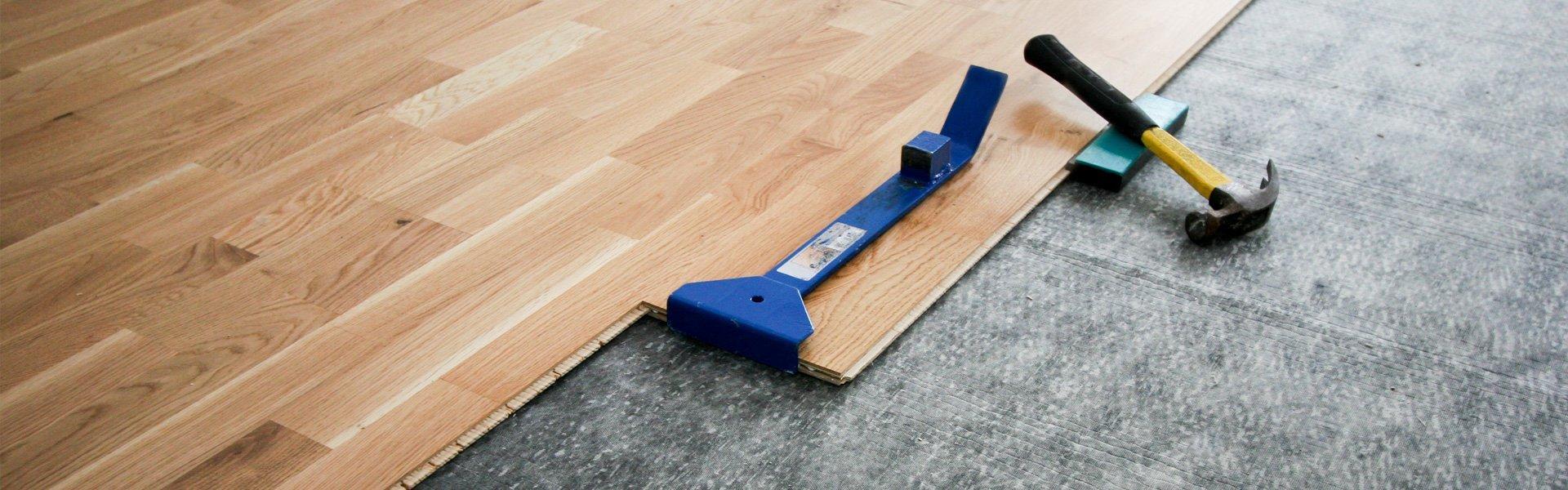 wood flooring being installed