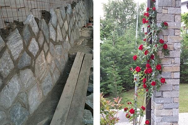Mosaicone rivestimento scogliera - Pilastro in luserna scagliato