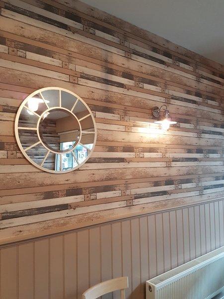 Interior wood work craft at cafe alba