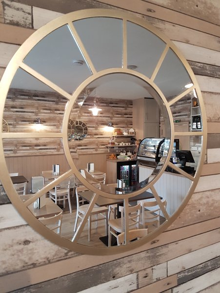 Wooden art work at cafe alba
