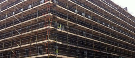 Large industrial scaffolding set up