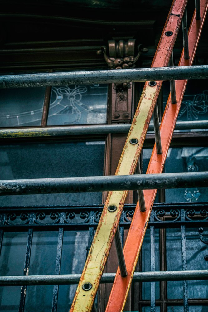 Close up of scaffolding ladder