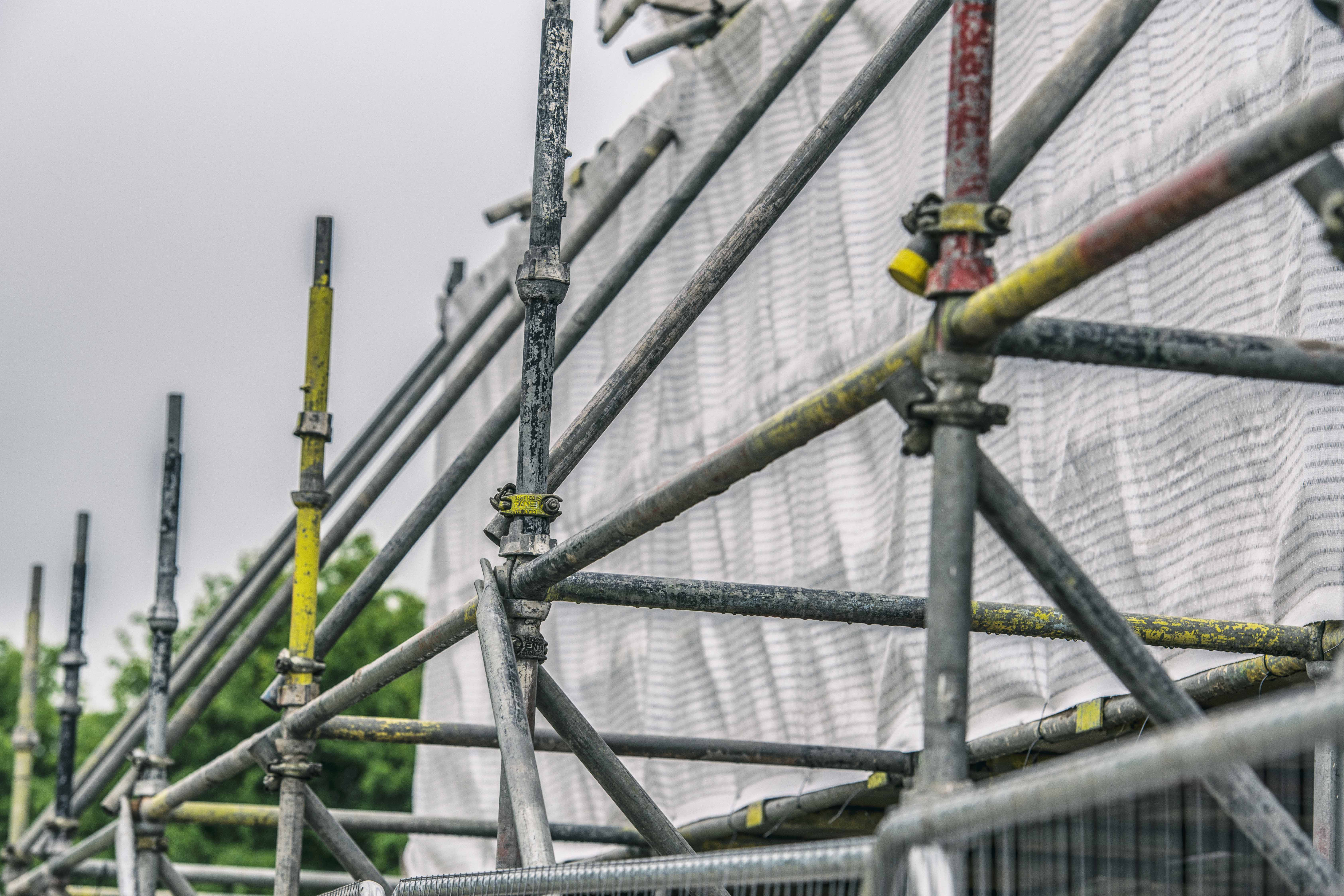 Scaffolding set up with safety netting fitted