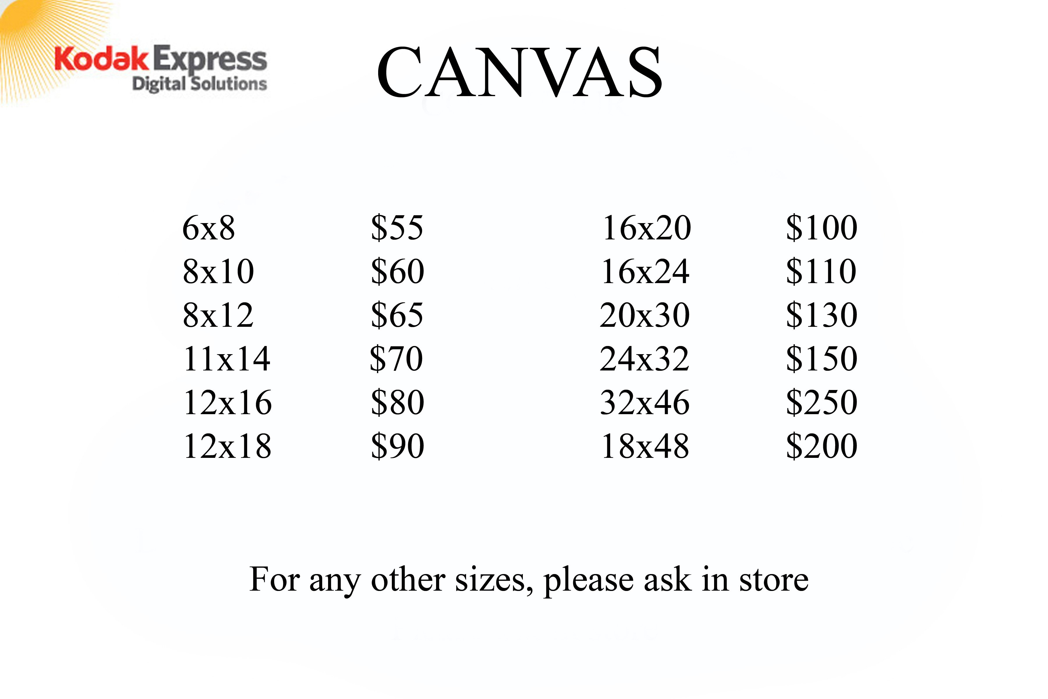Kodak Express Digital Solutions' rate list for Canvas