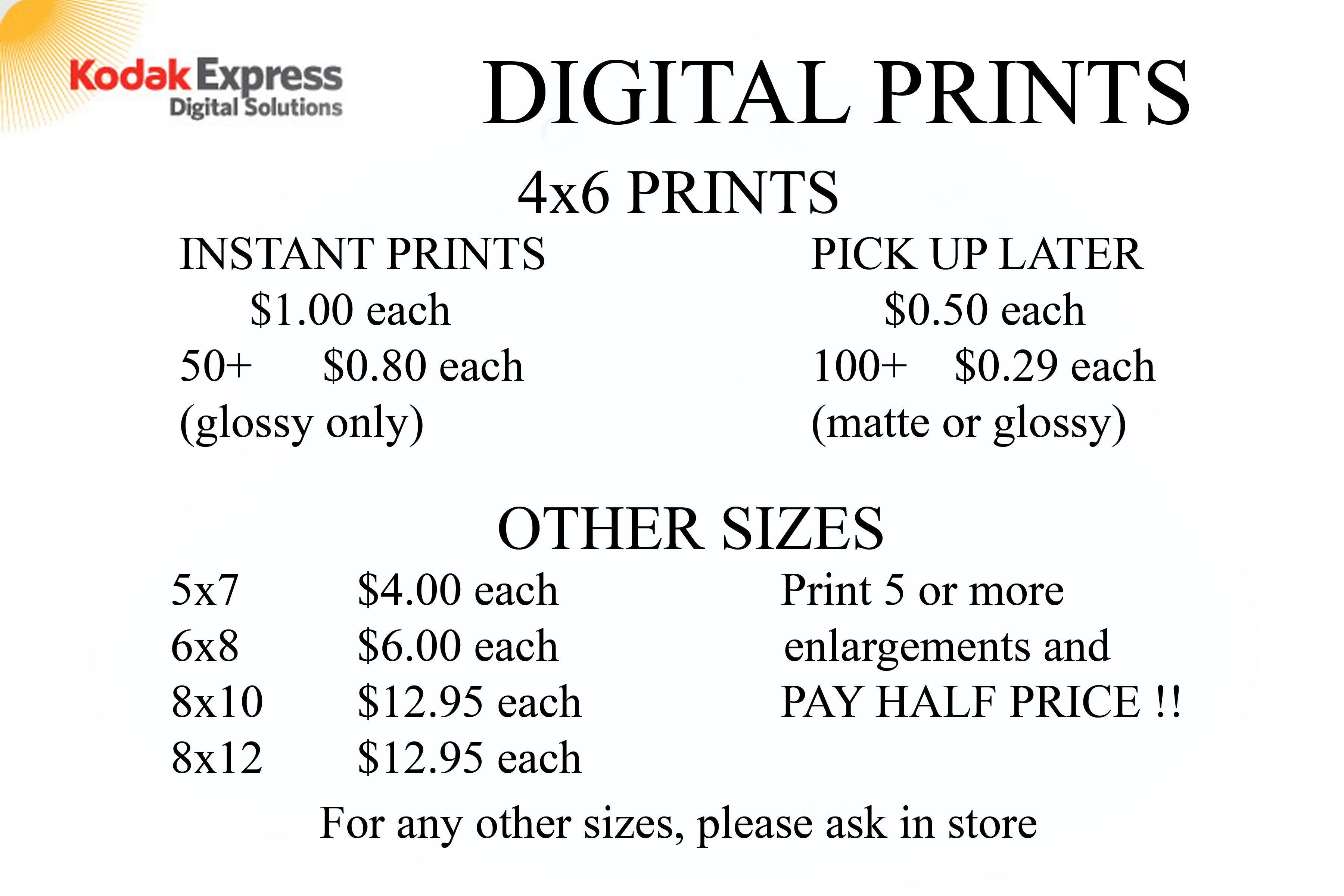 Kodak Express Digital Solutions' rate list for Digital Prints
