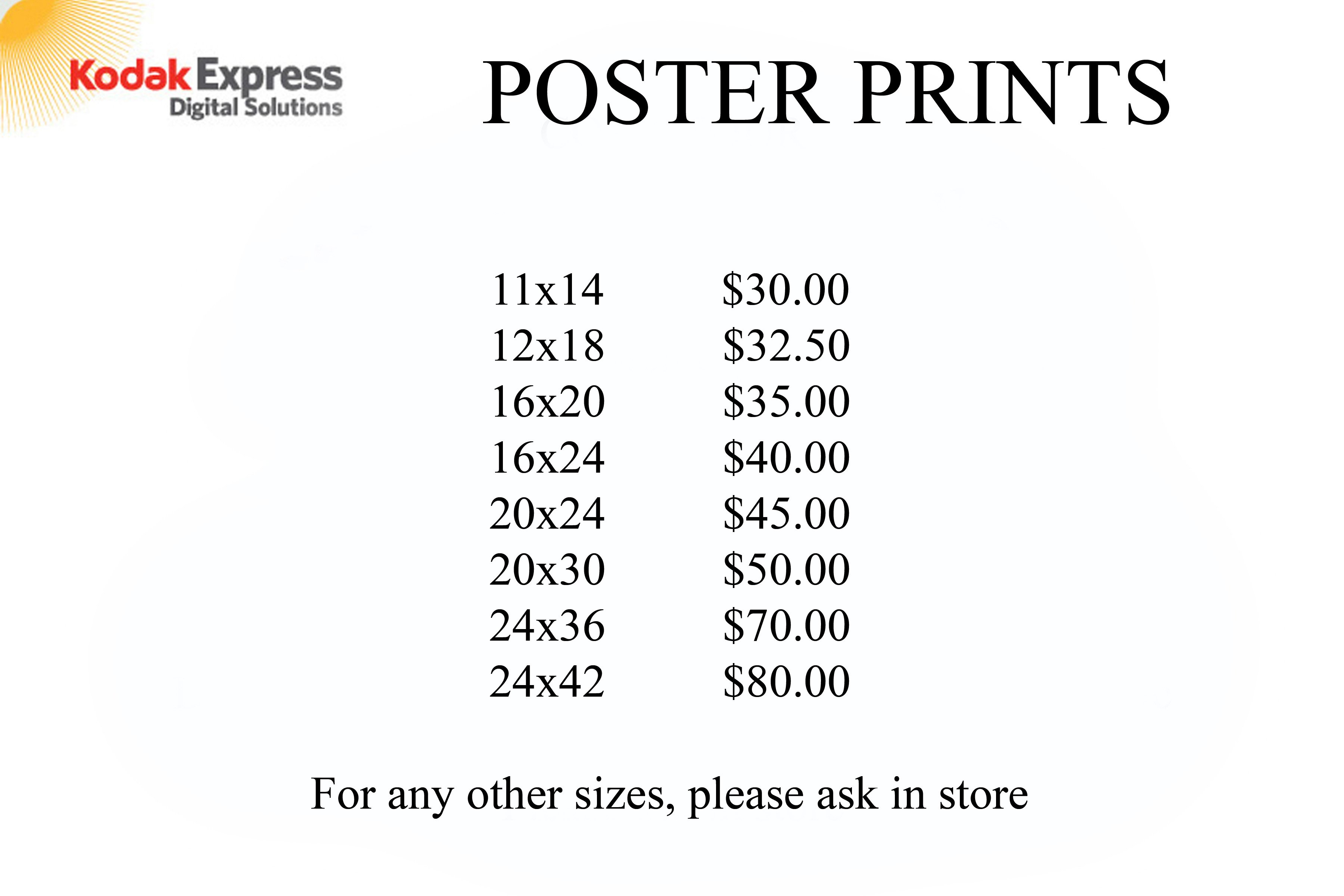 Kodak Express Digital Solutions' rate list for Poster Prints