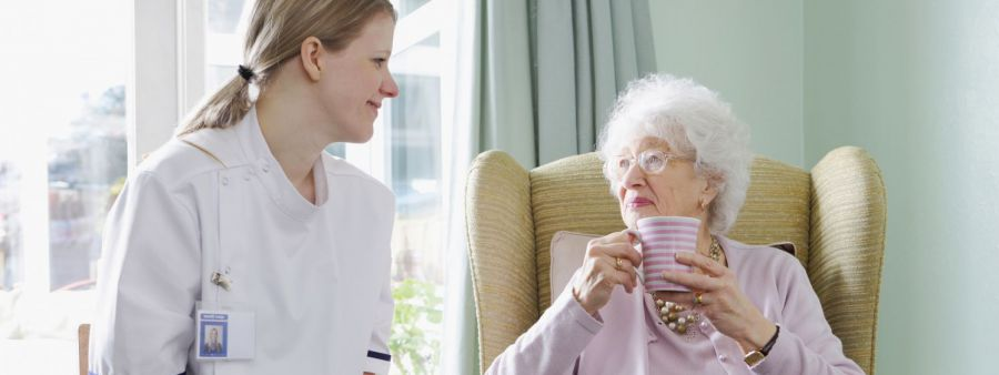 Assisted living nurse with a client in Anchorage, AK