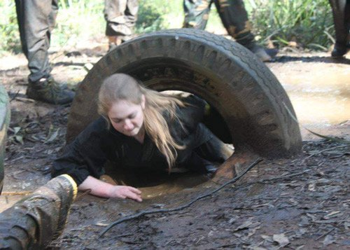 ninja crawling under tyre