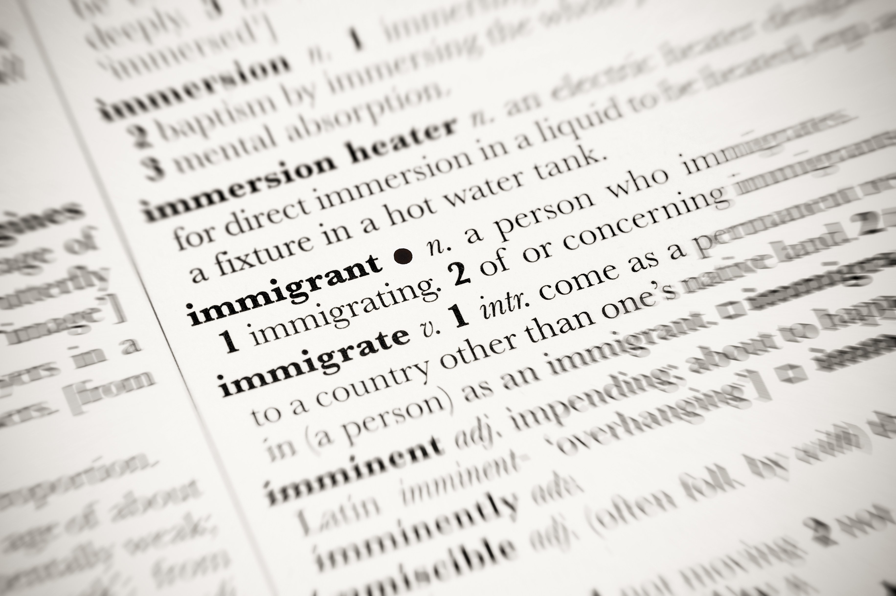Dictionary definition of immigrant