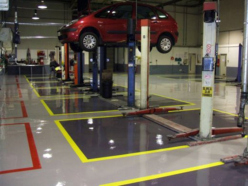 Workshop flooring solutions by gallagher flooring for Mechanic shop flooring