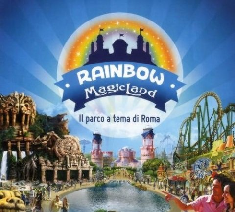 un'immagine con un logo Rainbow magic land il parco a tema di roma