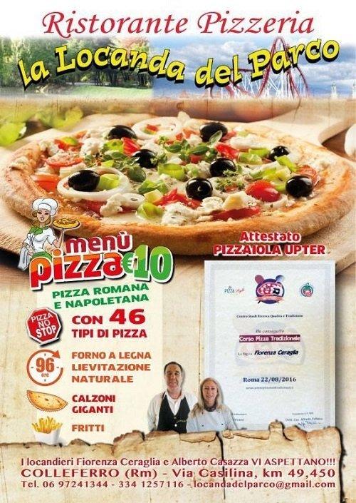 il  depliant del ristorante pizzeria con menu pizza 10 euro
