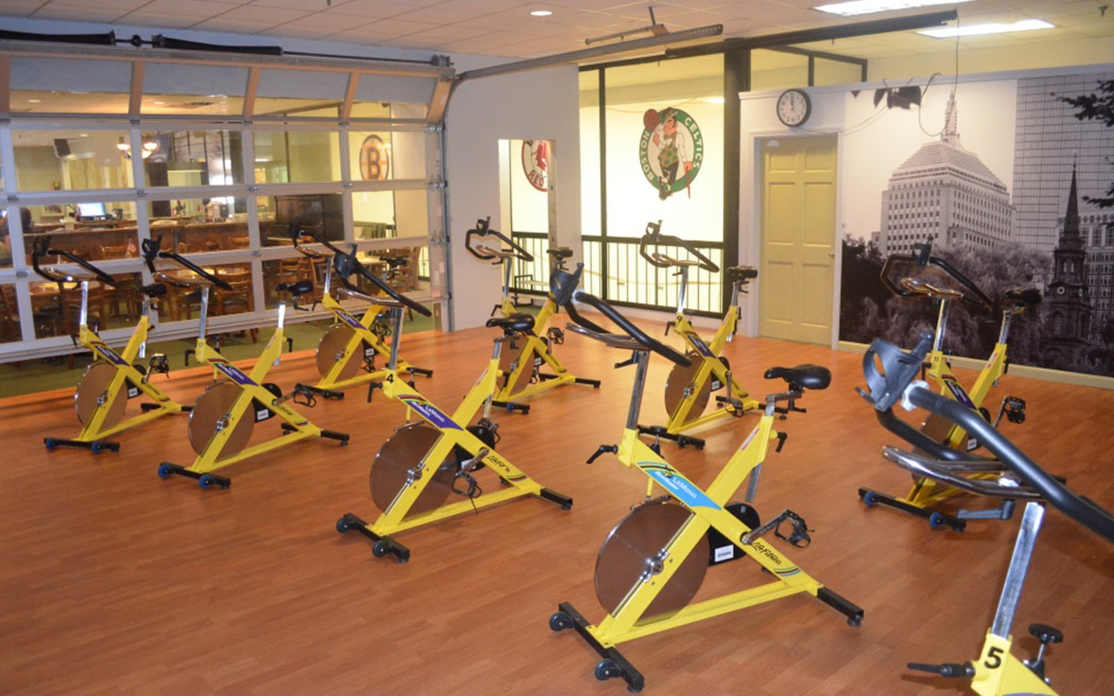 Fitness room with bikes