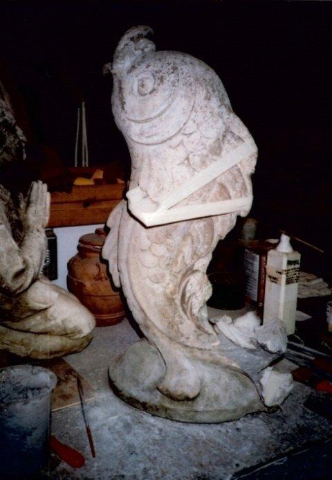 statua restauro, lavoro di restauro