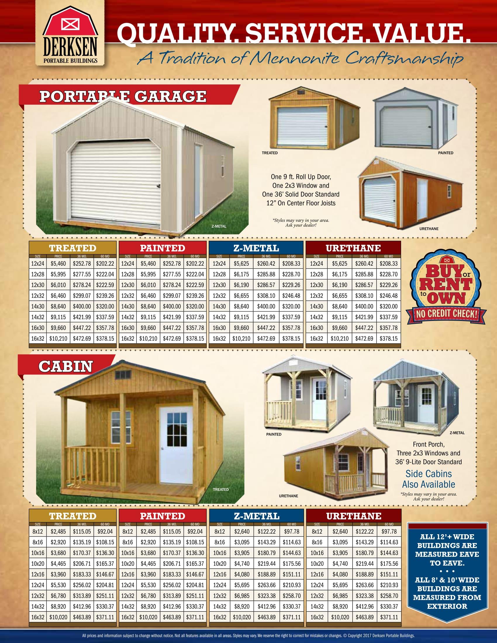 Derksen Portable Buildings Prices