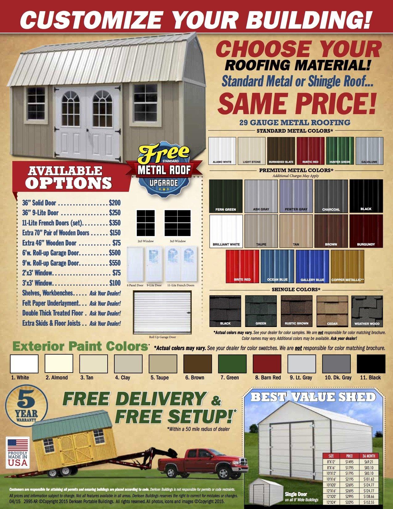 Derksen Pricing Amp Options I 30 Portable Buildings Arkansas