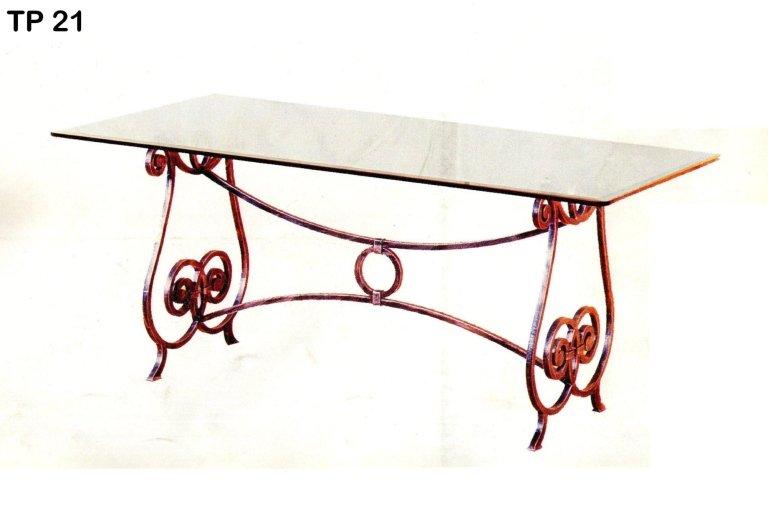 tavolo da pranzo rettangolare in ferro battuto