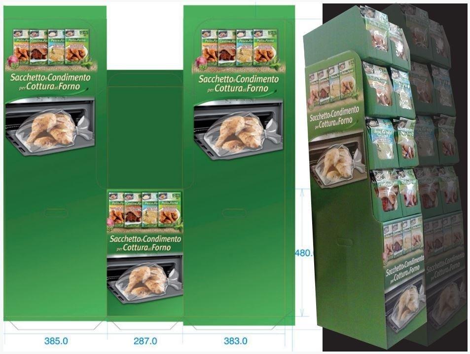 Espositore in cartone per supermercati