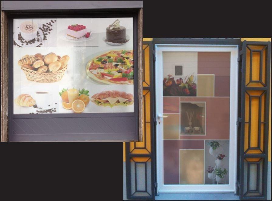 Decorazioni vetrine con pellicola sabbiata stampata