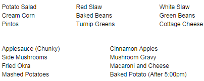 Sides below are $1.60