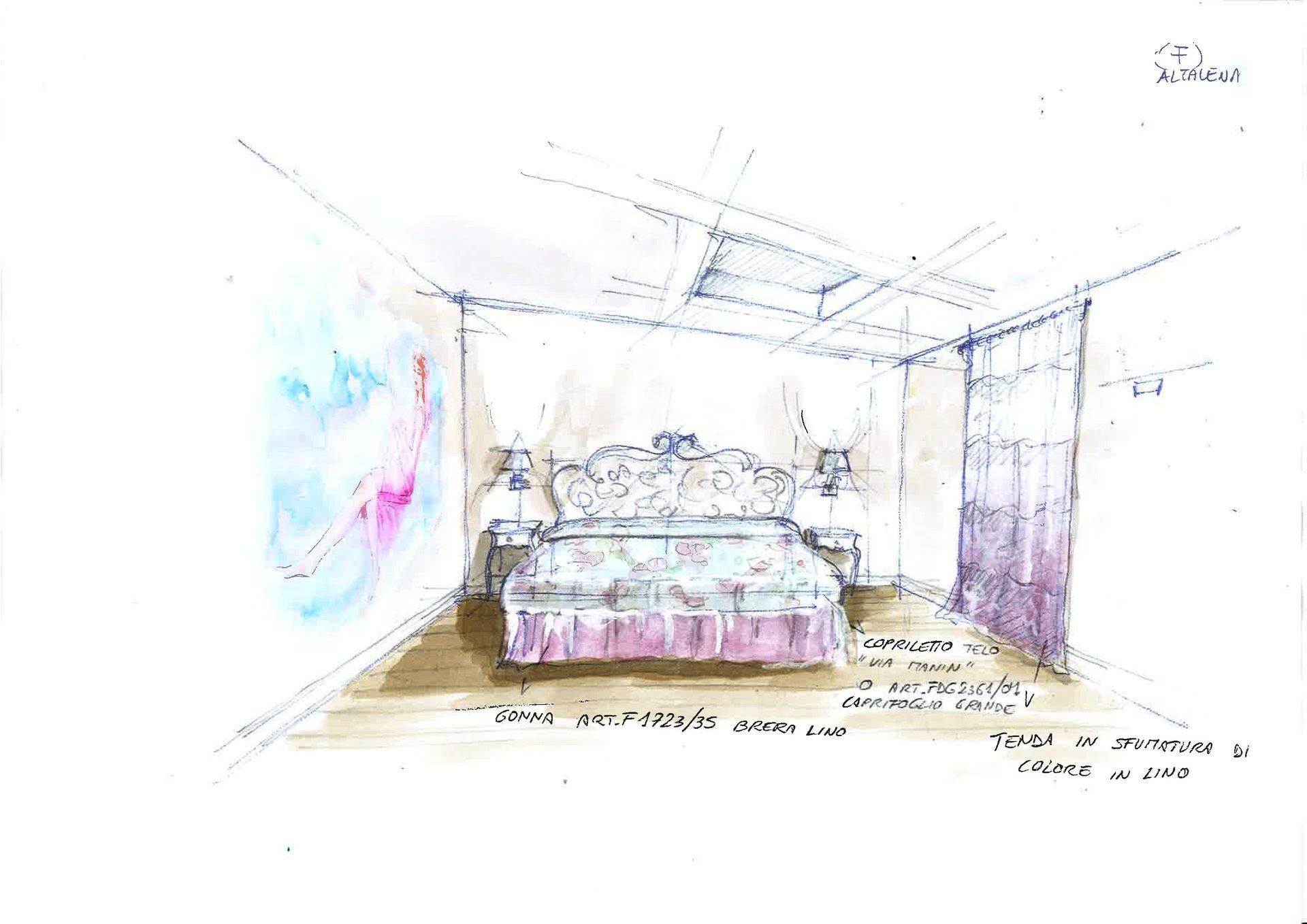 disegno restyling di camera da letto tramite creazione tessili su misura