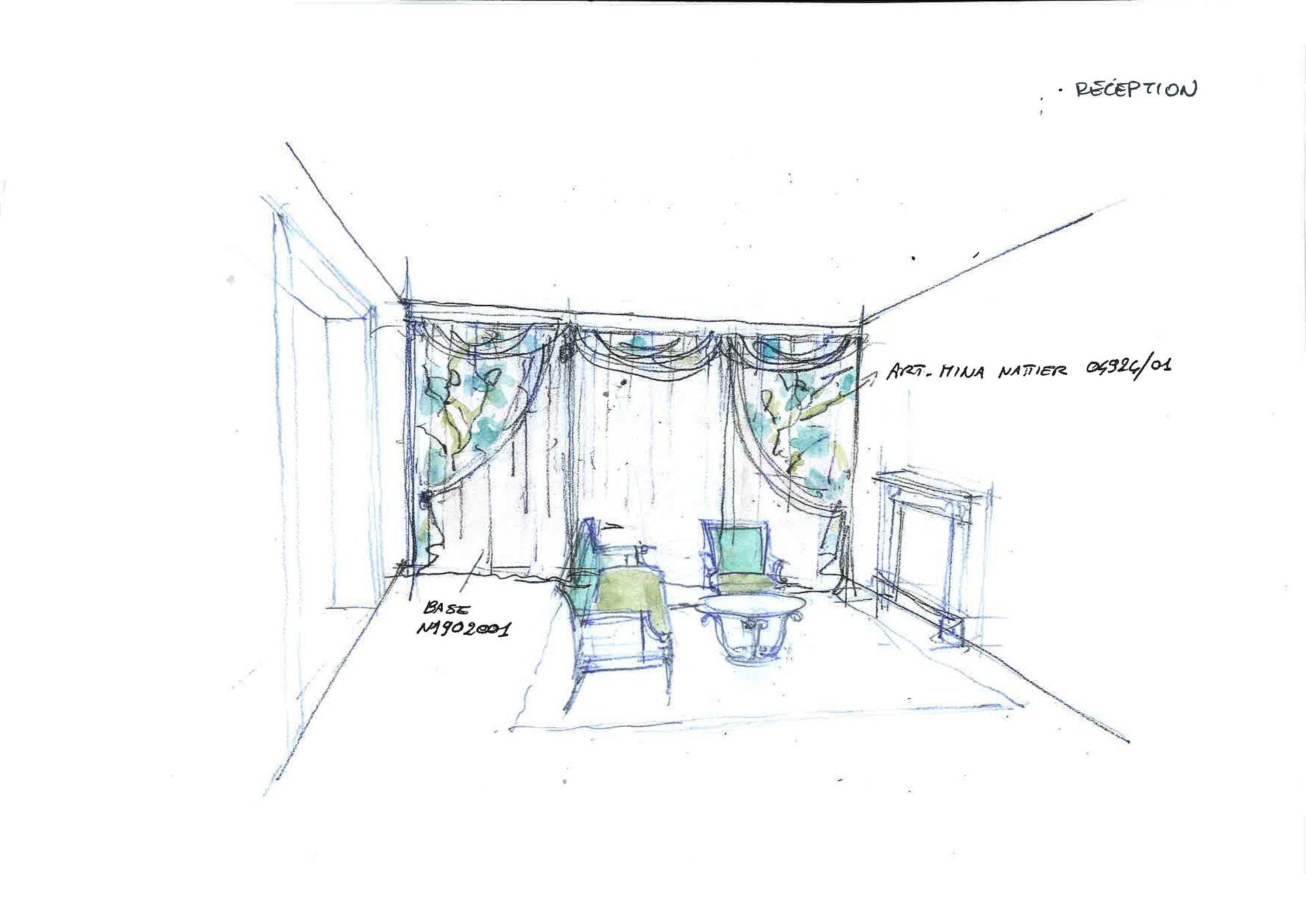 disegno salotto con tende e poltrone con rivestimento rinnovato