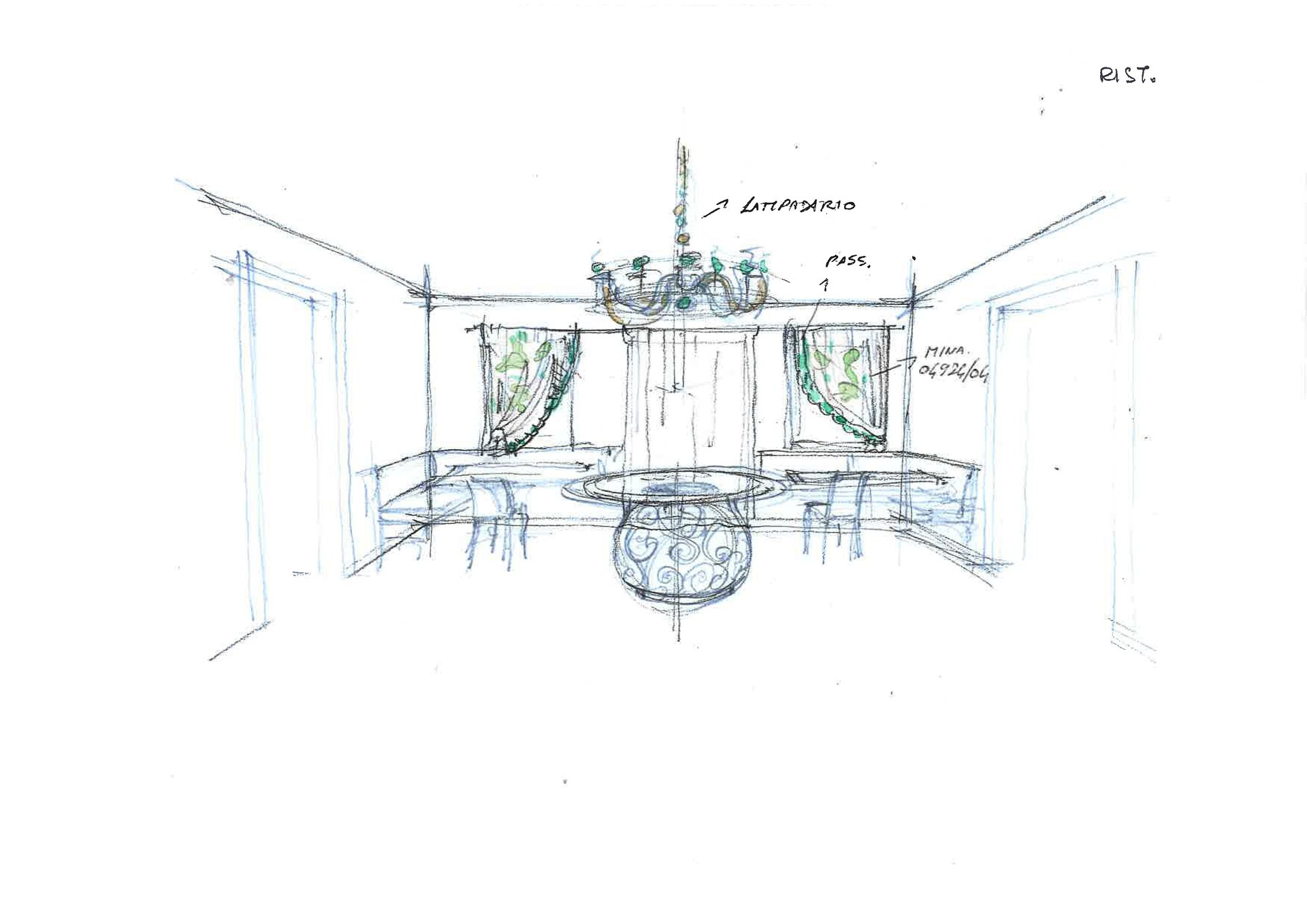 bozzetto restyling sala da pranzo