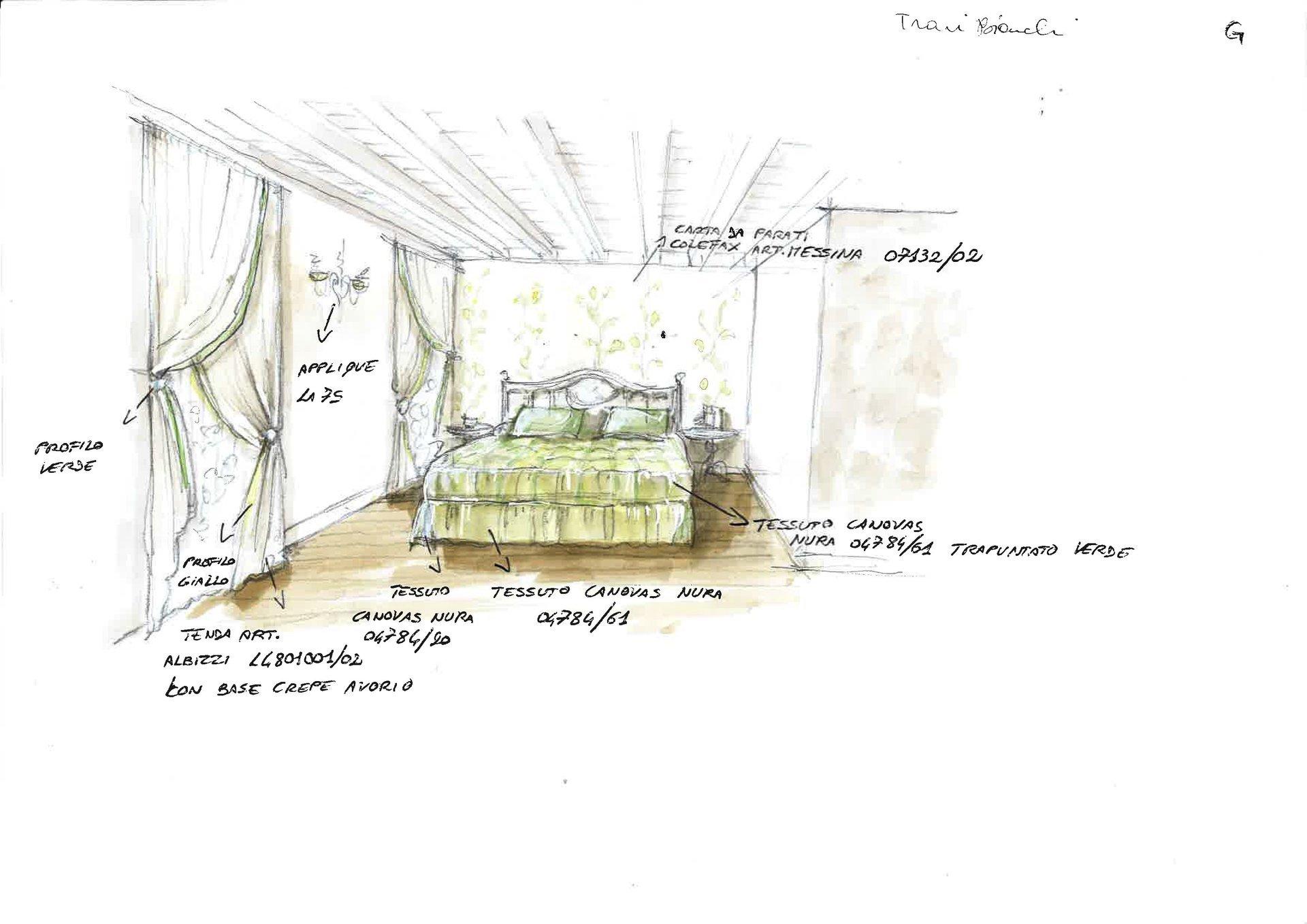 disegno restyling camera da letto con trapunta e tende