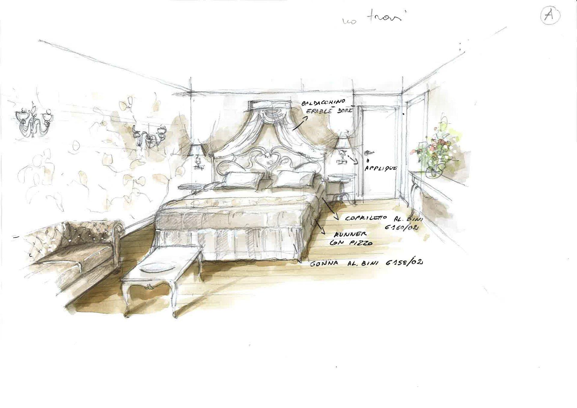 bozzetto camera da letto barocca