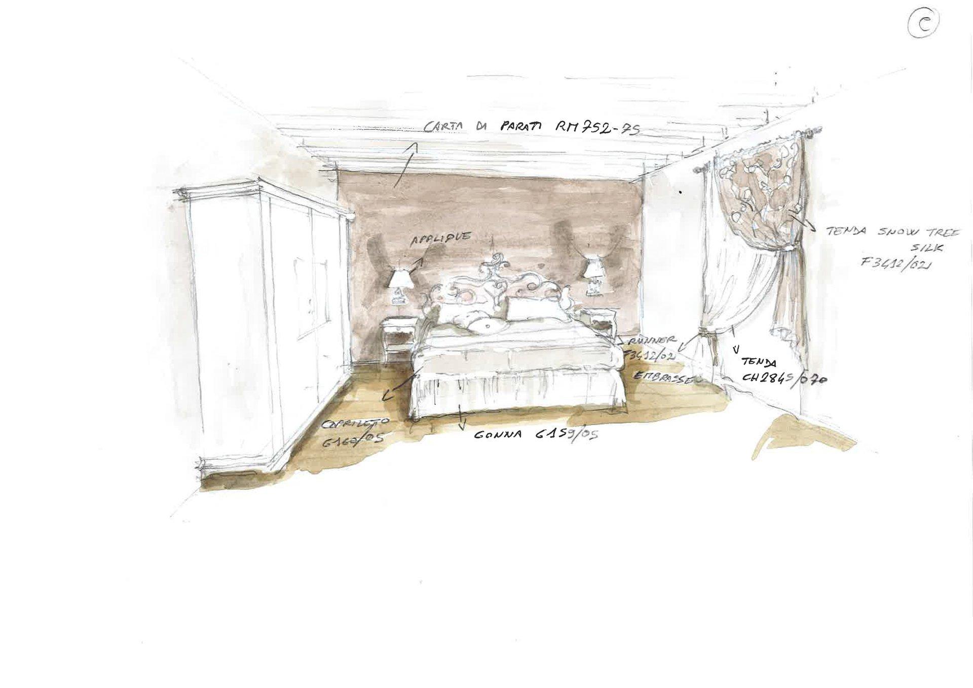 disegno restyling di una stanza da letto