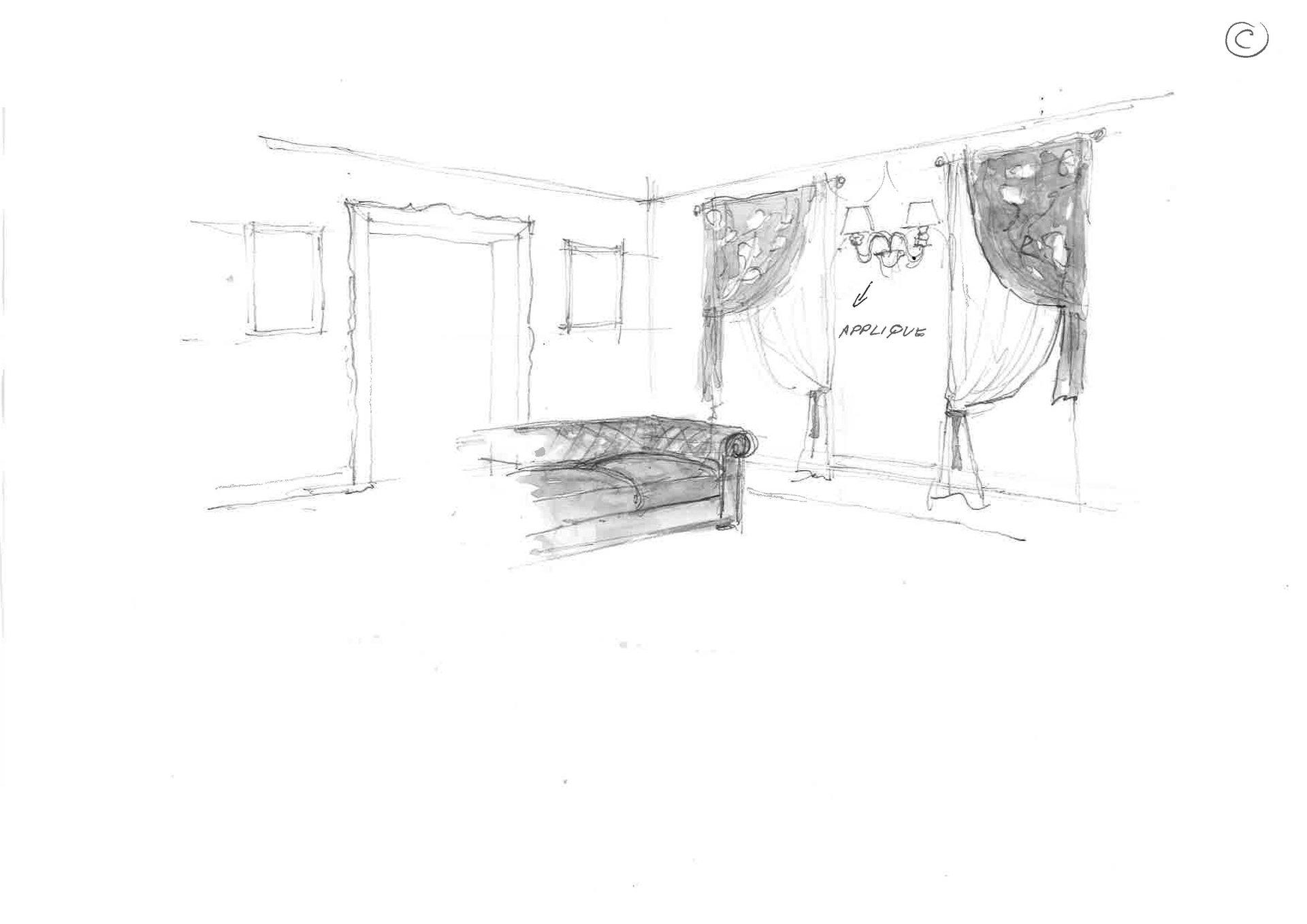 disegno salotto dopo restyling