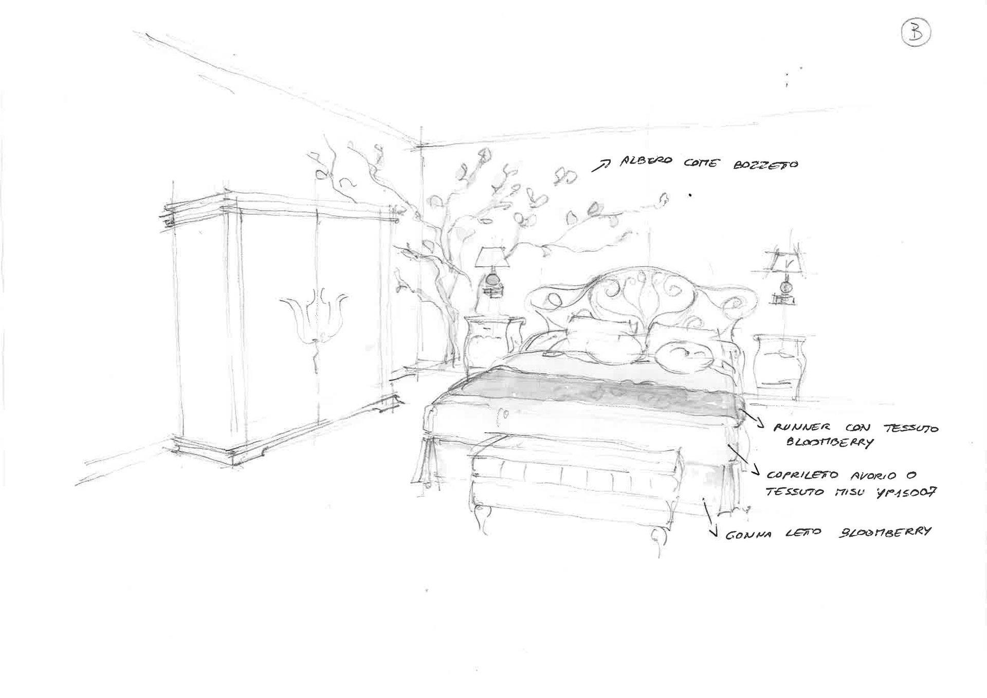 disegno di camera da letto rinnovata