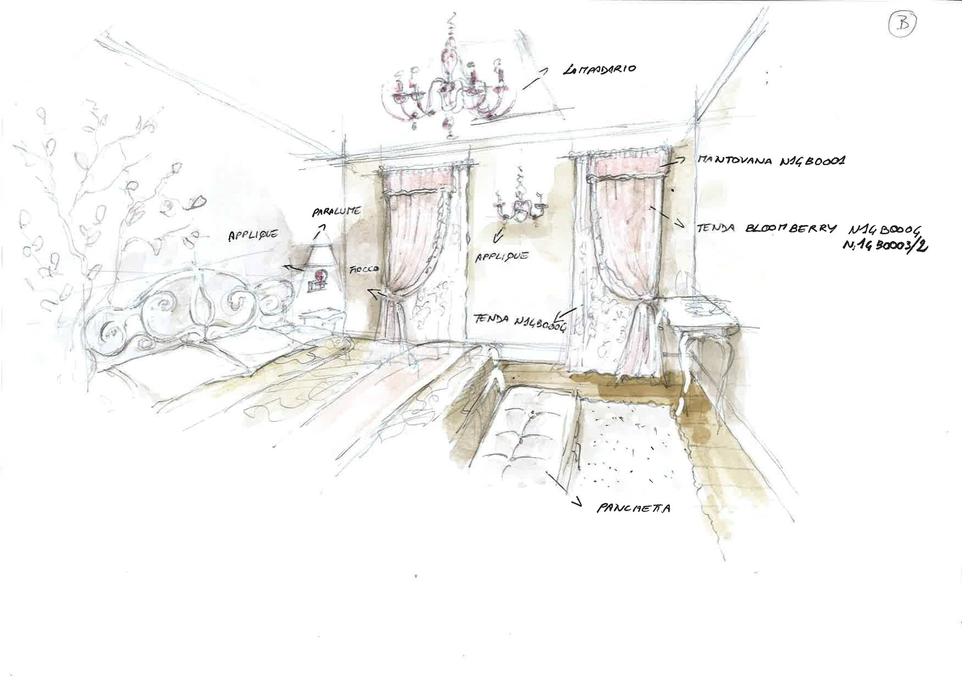 bozzetto camera da letto rinnovata