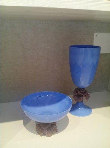 calice e ciotola in vetro di murano
