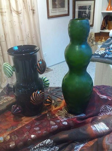 vasi in vetro di murano decorato
