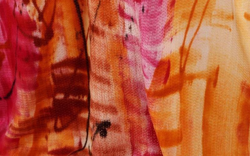 Dettaglio della pittura rossa,gialla e arancione in la cortina di fuoco