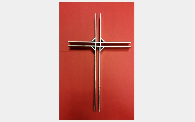 Classical three-dimensional cross - AISI 304 stainless steel, various measurements