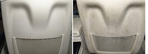 Bevagna Parking Sanificar - Prima e dopo pulizia interni di un'auto a Roma