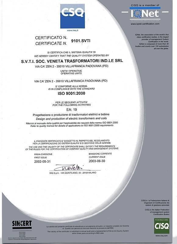 Certificazione ISO S.V.T.I.