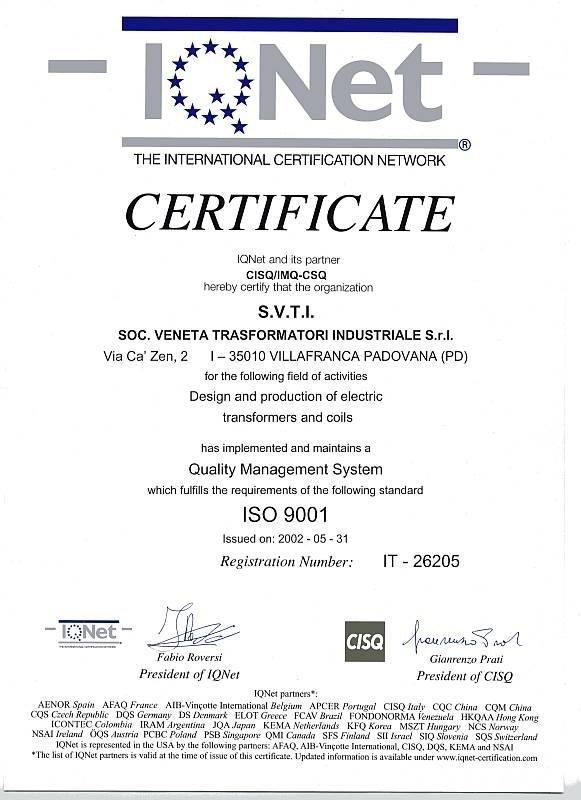 S.V.T.I. ISO Certification