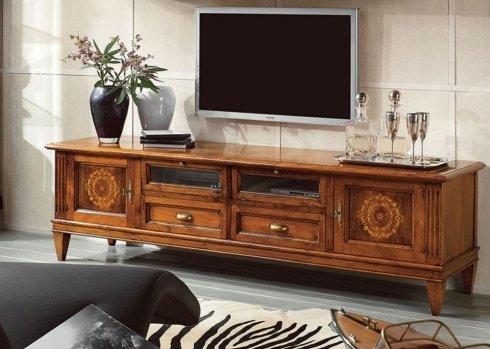 Mobile porta tv con intarsio rosone su due ante