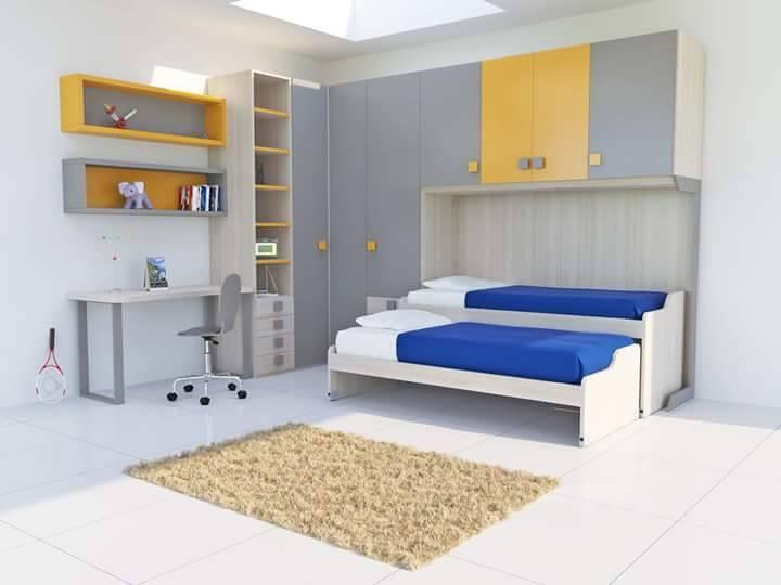 una cameretta con due letti singoli e armadio di color grigio e giallo
