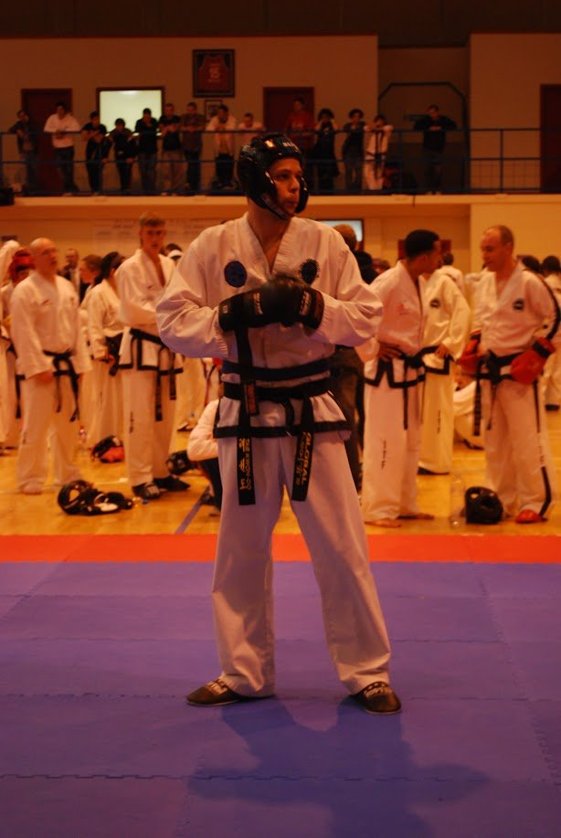 martial student with body protection