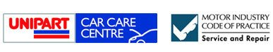 Logos for Unipart, Car Care Centre, and Motor Industry Code of Practice