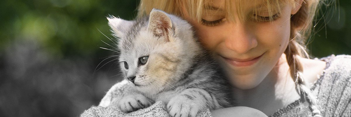 a girl holding a cat