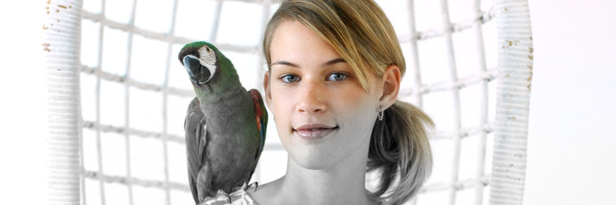 girl with parrot on shoulder