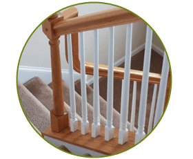 white staircase bars