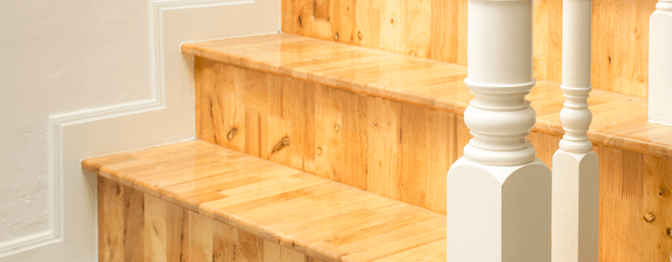 light brown wooden stairs