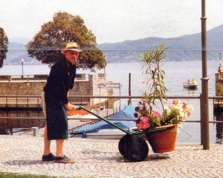 Un uomo con un cappello sta trascinando un vaso di fiori con l'ausilio della cariola su lungo lago